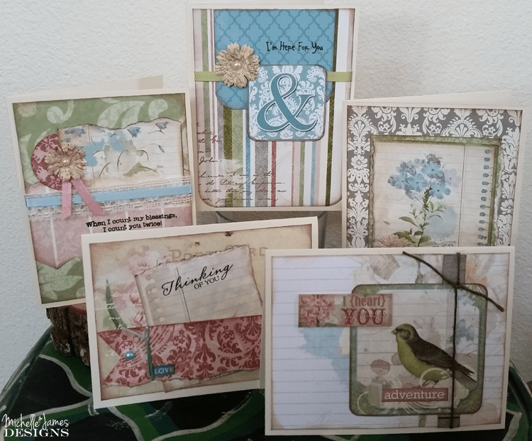 Garden Journal March Card Class - www.michellejdesigns.com - Join my March card class featuring Bo-Bunny's Garden Journal Collection. Perfect for all occasion spring cards!