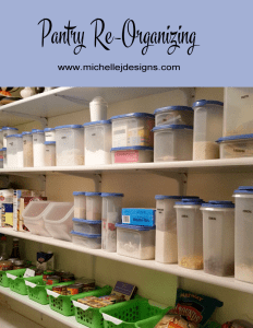 Pantry Re-Organization - www.michellejdesigns.com - follow my journey to an organized pantry. This is phase three and I am getting there!