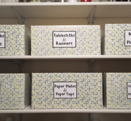 Organizational Boxes from Diaper Boxes - www.michellejdesigns.com - I used contact paper, diaper boxes and some labels to create storage in my pantry.