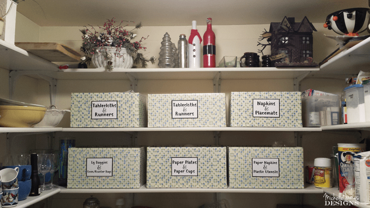 Organization Boxes from Diaper Boxes - www.michellejdesigns.com - I used contact paper, diaper boxes and some labels to create storage in my pantry.