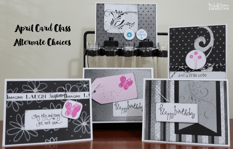 April Card Class - Graduation - www.michellejdesigns.com - Create five grad cards...don't need grad cards? Turn over the paper and change it up!