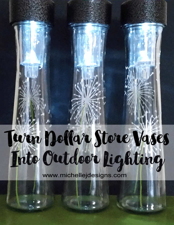 These dollar store vases outdoor lighting pieces are so easy to make and fast too. #dollarstorecrafts #dollarstorelighting #diyoutdoorlighting - www.michellejdesigns.com