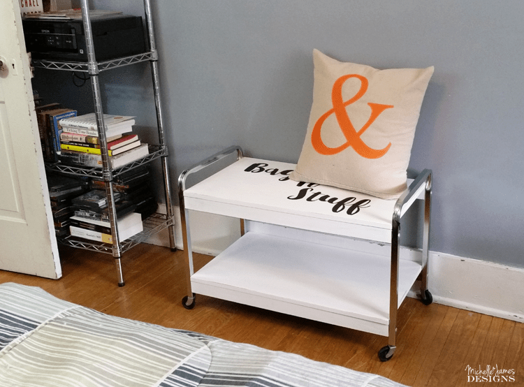 Guest Room Luggage Cart - www.michellejdesigns.com - One of the final touches to our guest room is this fun luggage cart. See how I created this useful piece!