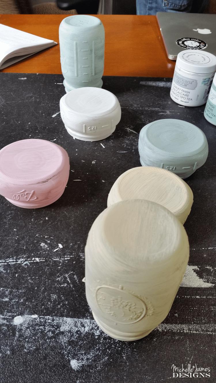 Mason Jar Desk Accessories - www.michellejdesigns.com - I used some mason jars to create fun desk accessories to perk up my boring desk!
