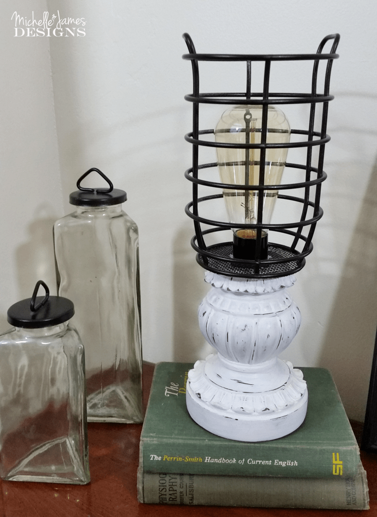 Farmhouse Look Lamp on a Budget - www.michellejdesigns.com - I love the farmhouse look. I created this lamp from Thrift store parts and I think it would fit into any farmhouse decor