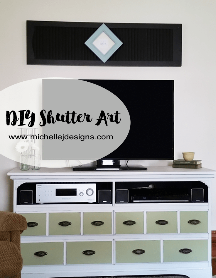 DIY Shutter Art - www.michellejdesigns.com - I created art using a shutter and a frame from the thrift store