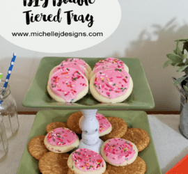DIY Tiered Tray - www.michellejdesigns.com - Create your own DIY tiered tray with two plates and a candlestick!