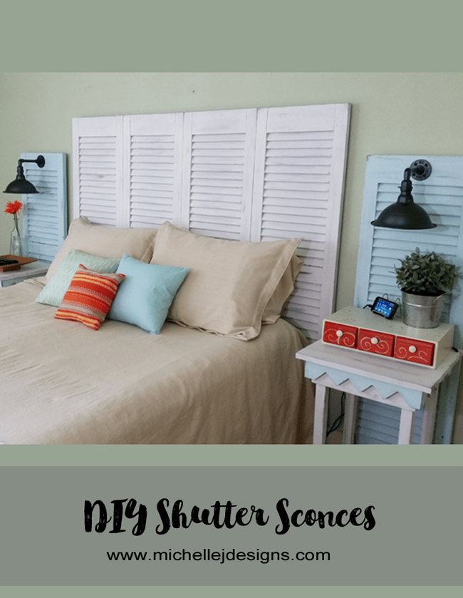 How To Create Shutter Sconces - www.michellejdesigns.com - I created my own sconces from plumbing and electrical parts. They are perfect in the shutters...on the wall!