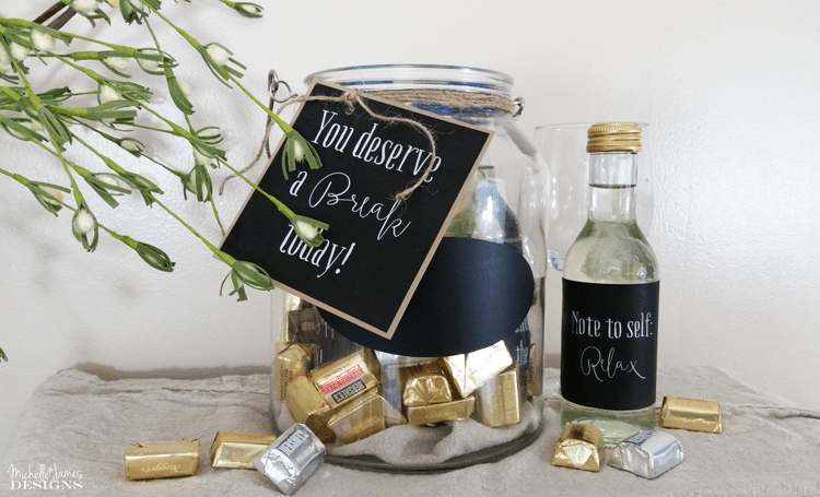 Create a Gift In a Jar - www.michellejdesigns.com - This is the perfect gift for anyone who has a little stress in their lives. It is an instant pick-me-up. Show them how much you care!