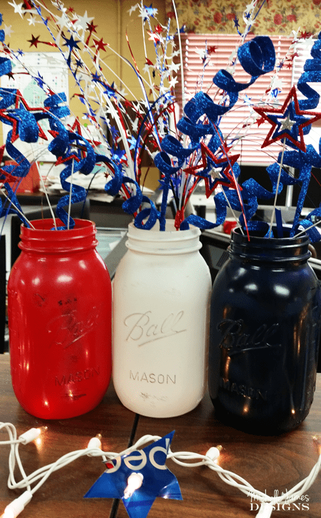 Patriotic Mason Jar Decor - www.michellejdesigns.com - We wanted something festive, cheerful and patriotic for our office decor. These mason jars were the perfect fit.