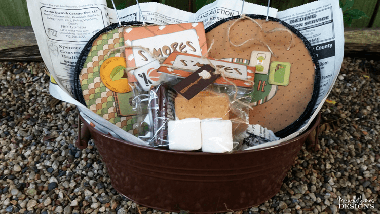 Create_A_Gift_For_Campers - www.michellejdesigns.com - I love to create fun things for my friends and I really like this gift of jiffy pop and smores for my camping friends!