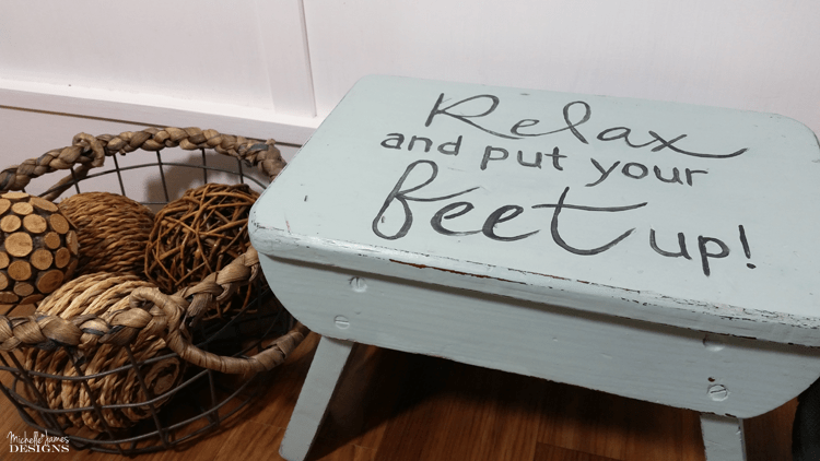 Cute Farmhouse Stool - www.michellejdesgins.com - All I used was paint to transform this cute little farmhouse stool into the perfect home decor!