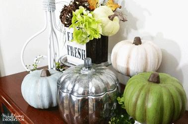 Transform dollar store foam pumpkins into pretty fall decor - www.michellejdesigns.com