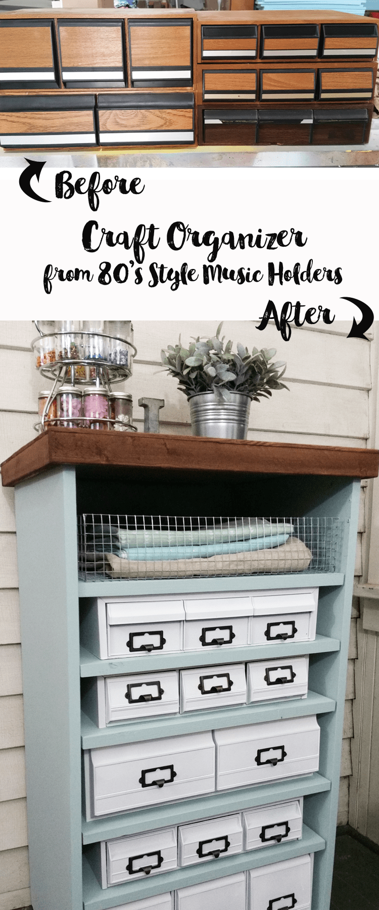 I found a bunch of the old 80's cassette, cd and vhs holders.  I gave them a cohesive look  with white paint and stacked them in an old stereo cabinet to create this awesome craft organizer!