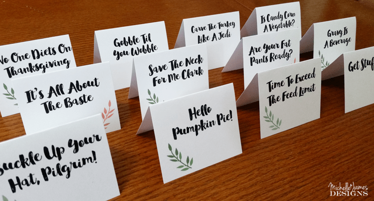 Thanksgiving-Place-Cards - www.michellejdesigns.com - I have designed some Thanksgiving Place Cards with a little humor. Who says Thanksgiving with family can't be funny? There is a free download included so come over and get yours today.
