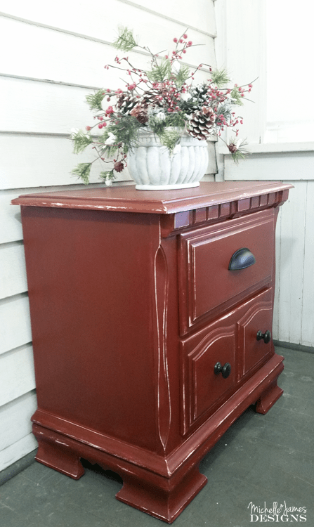 Barn-Red-Night-Stand-Make-Over - www.michellejdesigns.com - Come see this amazing Old Fashioned Milk Paint Color - Barn Red - I used on my night stand. It turned out fabulous!