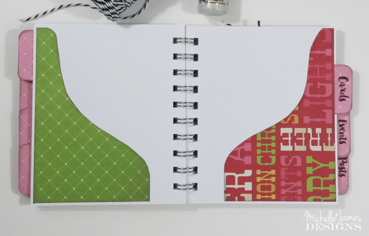 Holiday-Planner - www.michellejdesigns.com - I used a collection of Christmas scrapbook papers and a 4x5 notebook to create a functional holiday planner to help keep everything organized this season!