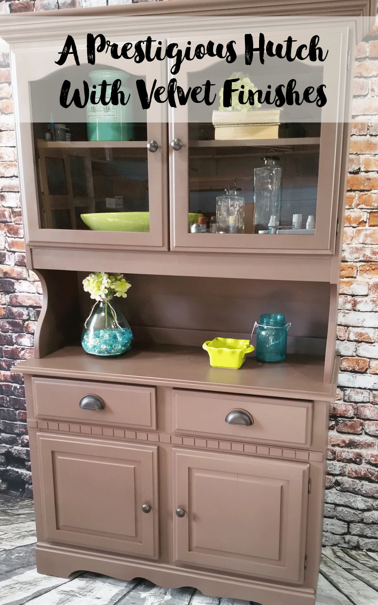 Velvet Finishes Hutch - www.michellejdesigns.com - I updated this hutch with Velvet Finishes paint in Prestigious. Take a look at the gorgeous color.
