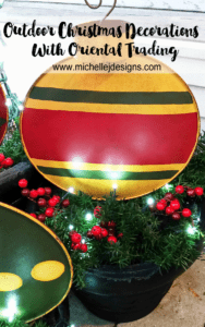 Outdoor Christmas Decorations - www.michellejdesigns.com - These large, metal ornament stakes were perfect for the Outdoor Christmas Decorations by my back door. Come see how they turned out.