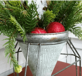 Trash-To-Treasure-Farmhouse-Holiday-Decor - www.michellejdesigns - I love to recycle and re-use when ever I can. I bought this vintage canner piece a few months ago and it has been reborn as a container to hold this beautiful holiday arrangement.