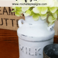 Thrift Store Ceramic Milk Cans - www.michellejdesigns.com - I turned these ceramic milk cans into decor for my kitchen. They are now the perfect farmhouse look that is so popular now!