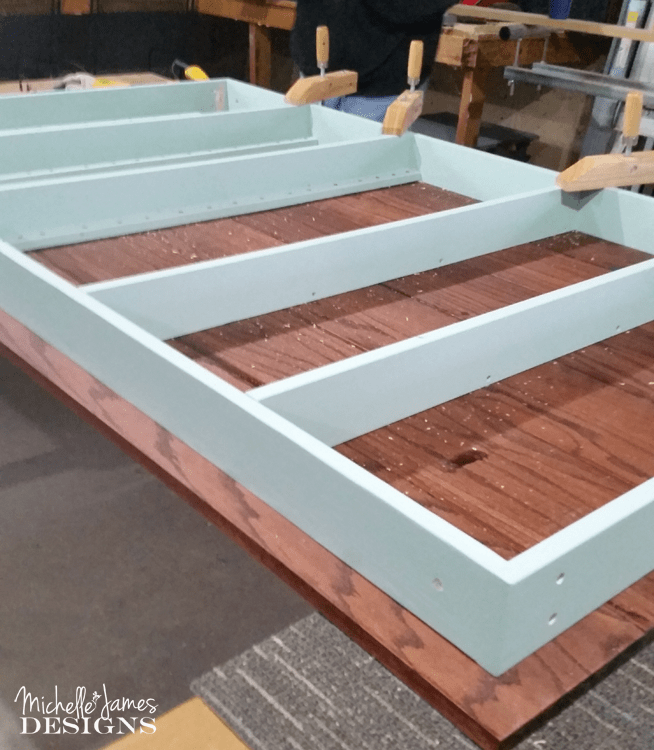 This DIY dining table was made with an oak top and a painted base and was the perfect custom fit for my son and daughter-in-law's dining room.