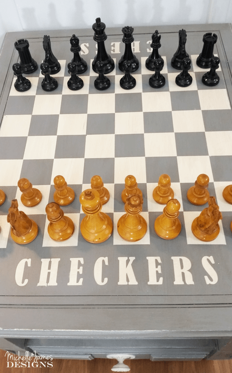 I used a HomeRight paint sprayer, some spray paint and some masking materials to paint a chess and checkers board. This was a fun DIY game table that anyone can create
