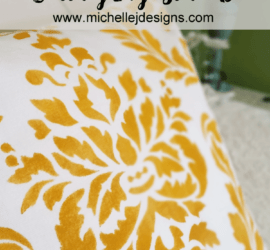 This throw pillow is a stencil kit complete with all the tools and ready to be painted