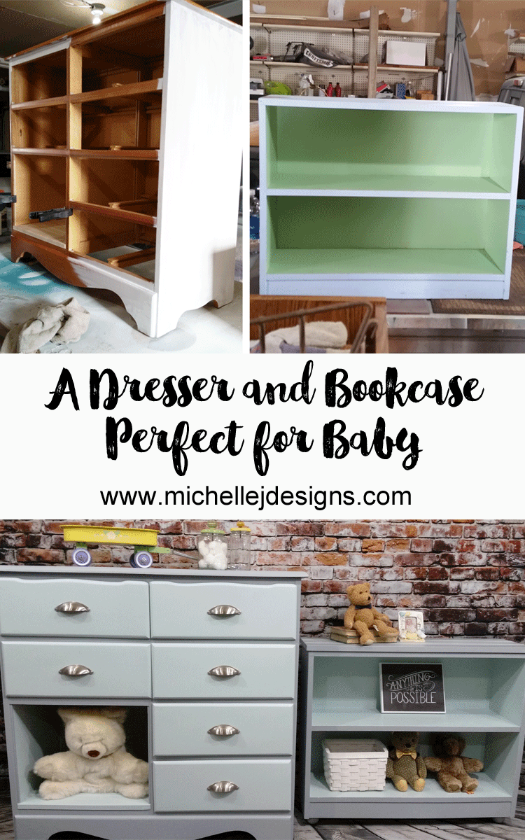 We gave these pieces a much needed update. Now they are the perfect baby furniture pieces for this new, sweet baby!