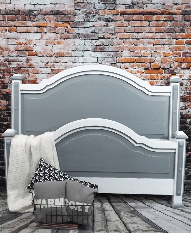 I used my Finishmax HomeRight paint sprayer to complete a makeover on this farmhouse style bed. It made quick work of the painting and let me finish this furniture DIY quickly and easily