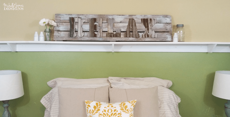 Using an old wood sign and some rusty letters from Custom Cut Decor I was able to create a rustic farmhouse sign that is perfect in our guest room!