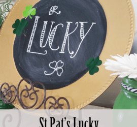 A dollar store charger plate and some chalkboard paint can make a lucky St Patrick's Day Chalkboard to add to your holiday decor!