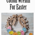 This cotton wreath is perfect for the farmhouse look I like. I changed it up and made it perfect for Easter! www.michellejdesignscom