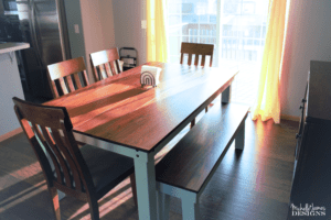 We made a dining room bench to match the dining table we built for our son and his wife. The oak stained top and the Sea Glass legs made a beautiful dining table bench they can enjoy for years and years - www.michellejdesigns.com