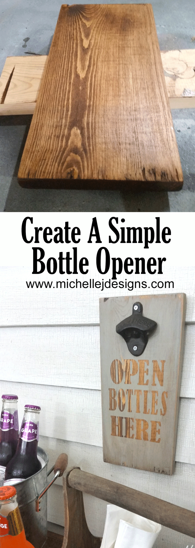This bottle opener tutorial is really easy and will only take a day to complete! www.michellejdesigns.com