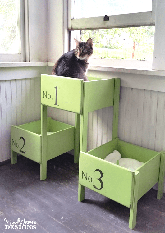 I love to re-purpose. This DIY cat bed started out from the only three drawers left from my oldest sons baby dresser/changing table. It was fun to use them to make something for our indoor fur babies! (sponsored) www.michellejdesigns.com