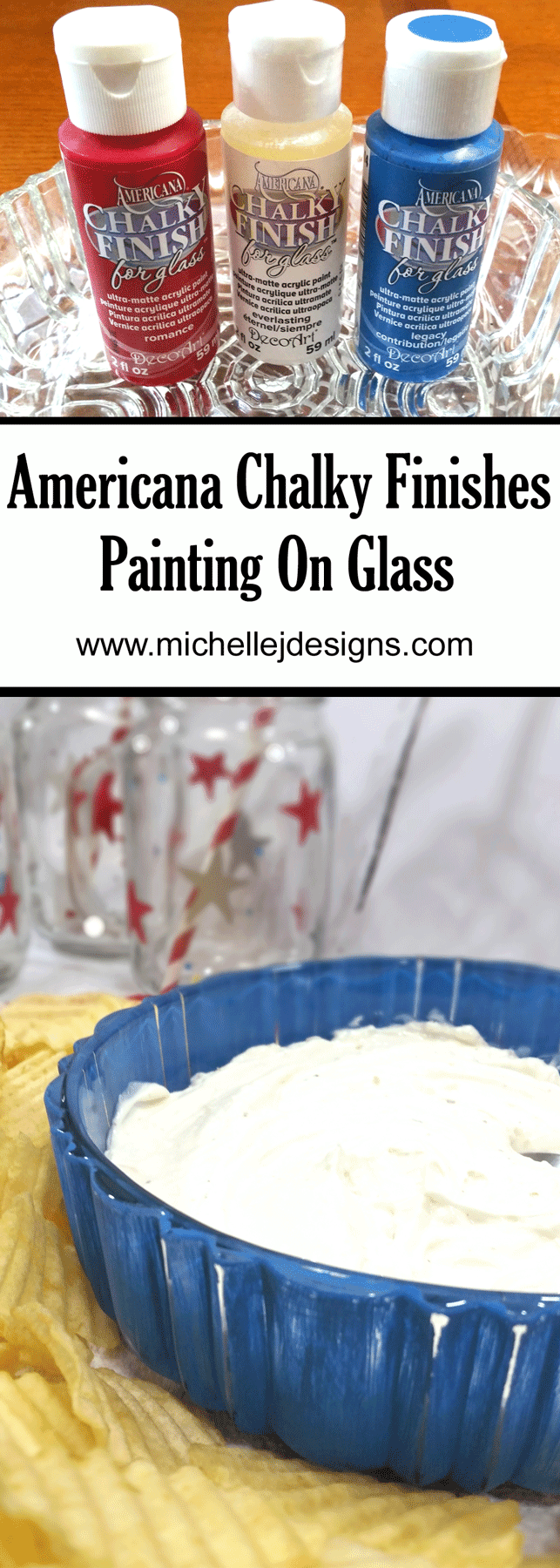 You can add color and interest to any glass piece using chalk paint for glass from DecoArt. www.michellejdesigns.com