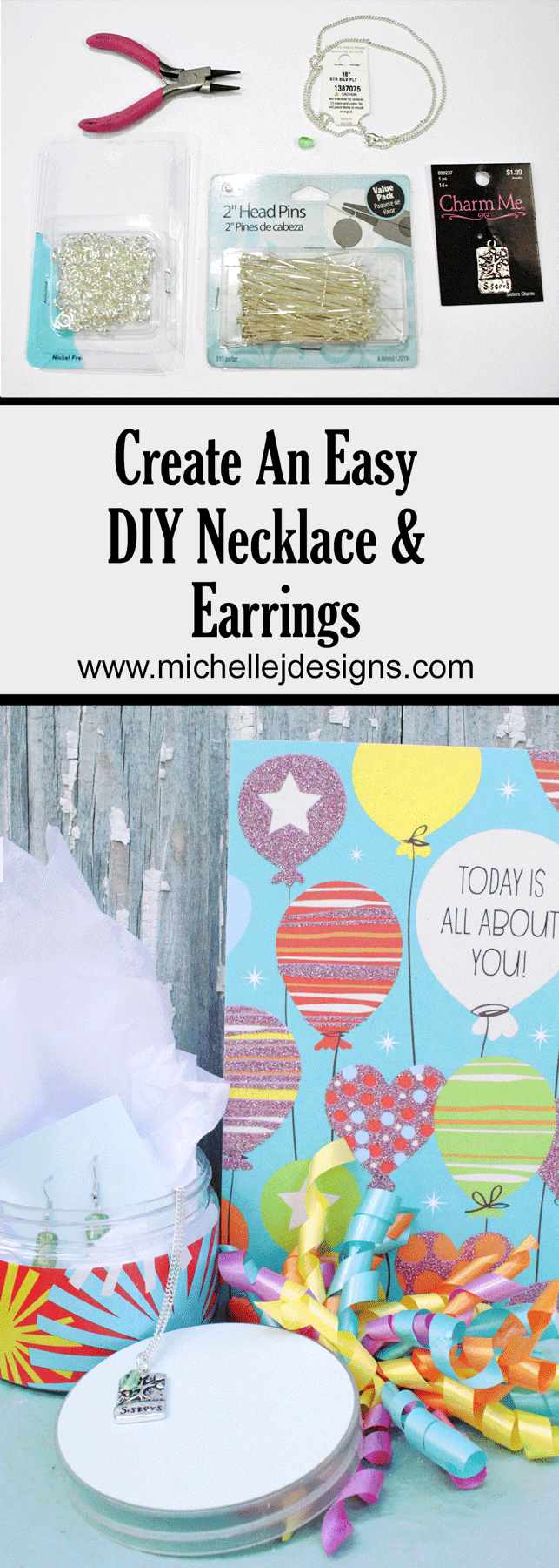 Create the perfect summer birthday gift. Create easy DIY necklace and earrings for someone special! - www.michellejdesigns.com