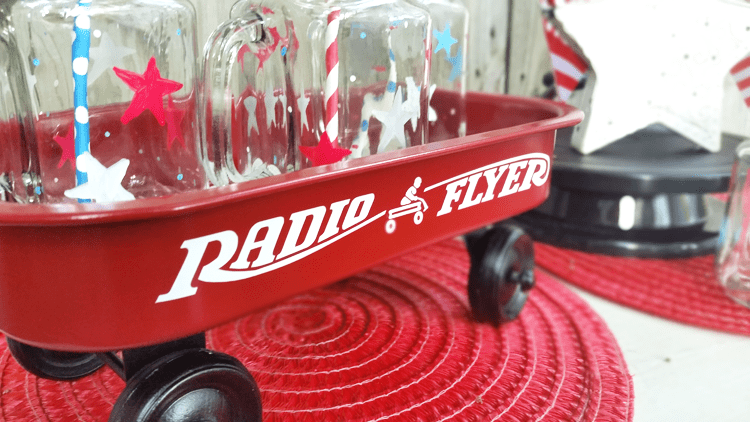 This little wagon started out a cutesy toy but now with some red and black paint this wagon looks a lot like the classic radio flyer wagon. - www.michellejdesigns.com