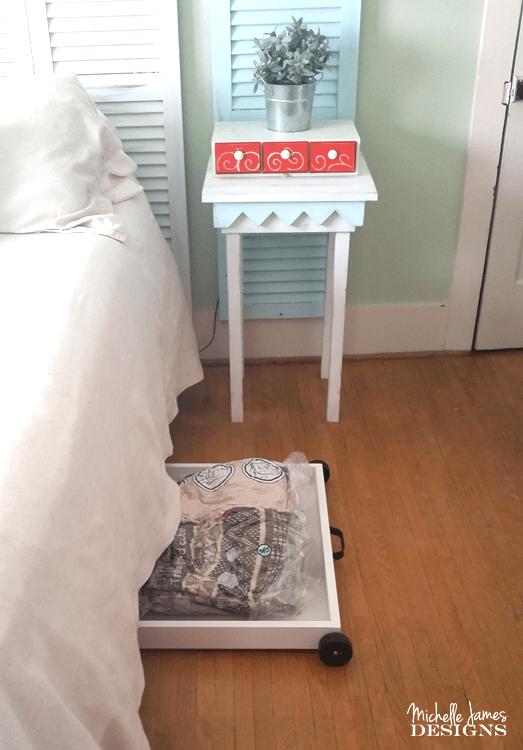 If you live in an old home like us or a home with limited storage you can get creative and use the space under your bed to create storage with storage bags. - www.michellejdesigns.com