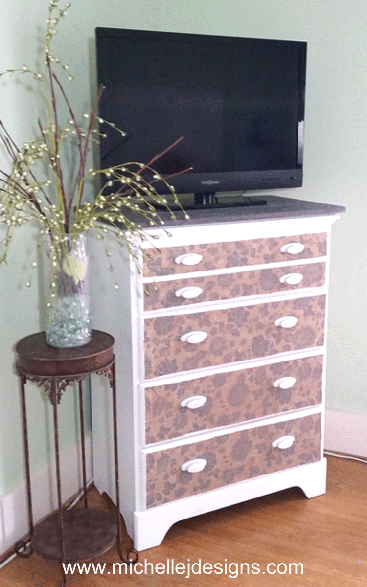 Mod Podge is one of the best products for easy DIY furniture updates. Check out my DIY Mod Podge dresser update to a boring brown dresser! - www.michellejdesigns.com