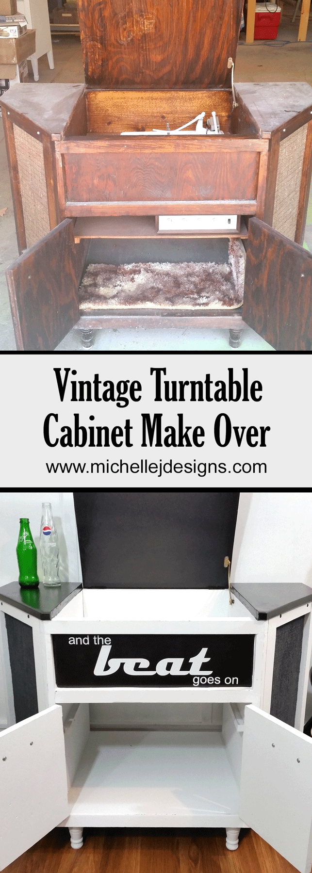 This 70's Vintage Turntable Cabinet desperately needed a make over. See how some paint transformed this vintage gem! www.michellejdesigns.com