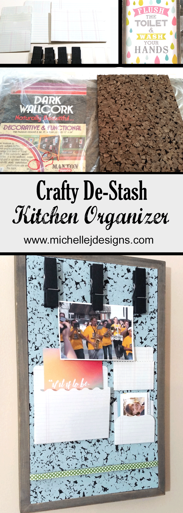 What do I get when I mix a lot of crafty stash items together? A kitchen organizer! Come see this kitchen organization board complete with pockets and clothes pins - www.michellejdesigns.com