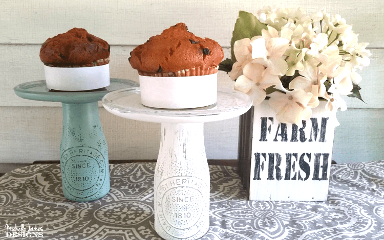 I love cake and cupcake stands. I am not sure why but I love them. See how I created my own DIY Dollar Store Cake Stands using Chalky Paint for Glass - www.michellejdesigns.com