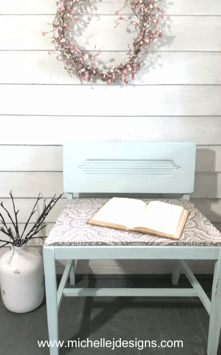A garage sale, broken chair turns into the cutest DIY vanity chair! I love easy makeovers. - www.michellejdesigns.com
