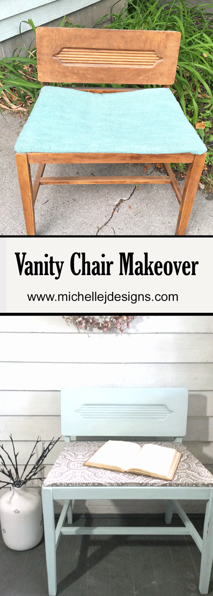 This DIY vanity chair went from broken and boring to sweet and charming. - www.michellejdesigns.com