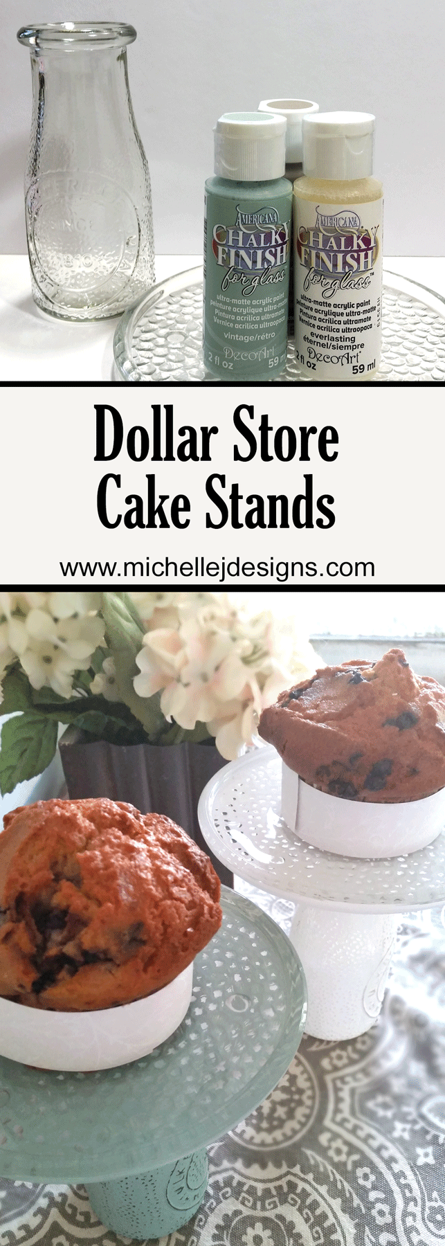 Create DIY dollar store cake stands with a few simple items. You will love these in your home! www.michellejdesigns.com