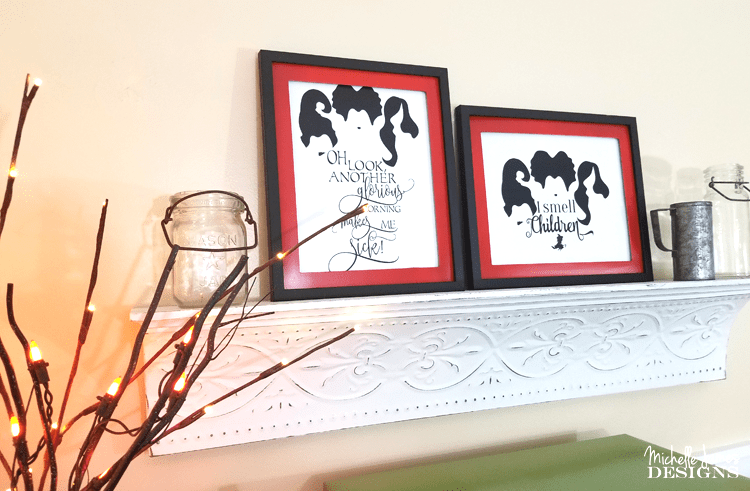 I love Halloween and the movie Hocus Pocus. I found some fun printables to download and created framed prints for my decor! - www.michellejdesigns.com