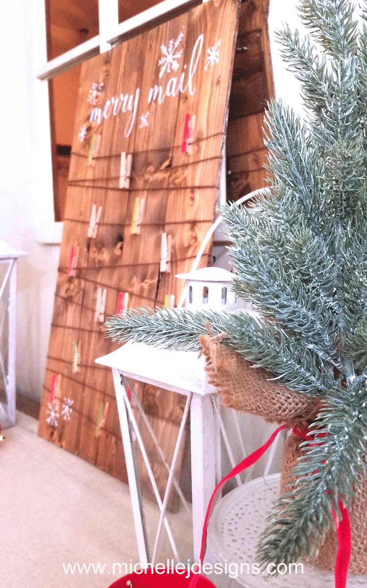 I wanted to create some new Christmas decorations this year. I started with a rustic Christmas Card holder to keep all of the cards we get organized and in one place.-www.michellejdesigns.com