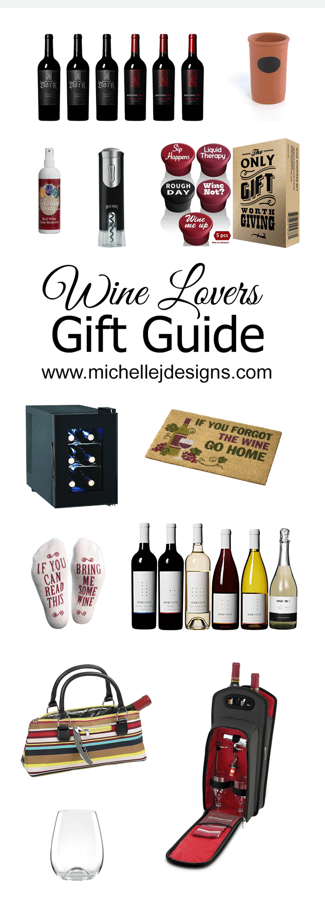 Are you wine lover? I bet if you aren't one of your best friends or family member is. That is why I created the Wine Lovers Gift Guide. It has a variety of products and prices for any occasion. www.michellejdesigns.com